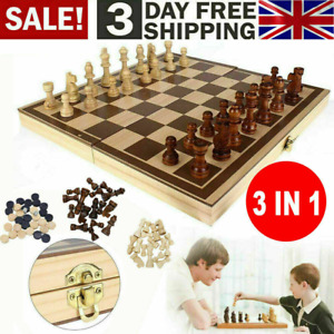 3in1 FOLDING WOODEN CHESS SET Board Game Checkers Backgammon Draughts Large UK