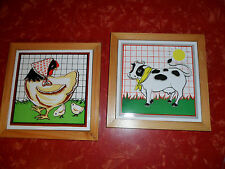 "Pair of Adorable Vintage Wood and Ceramic Cow and Chicken Trivets 7 1/8"" Square"