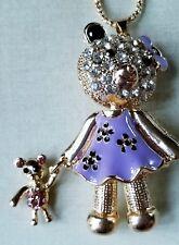 Cute Purplel Enamel Bowknot Bear Doll Crystal Betsey Johnson Pendant Necklace