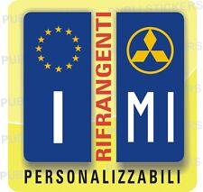 ADESIVI BLU RIFRANGENTI PER TARGA AUTO EUROPA CON SIMBOLO MITSUBISHI E PROVINCIA