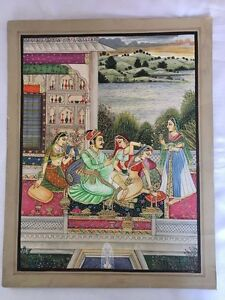 Old antique look mughal style miniature paper painting of KING & QUEEN