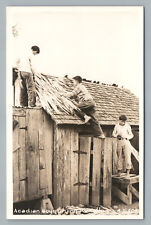 Acadian Boys Drying Palmetto RPPC Nova Scotia—Rare Vintage Photo CLARE 1940s