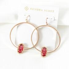Kendra Scott Elora Rose Gold Hoop Earrings In Berry NEW
