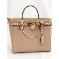 b3faefe50caec9 NWT Michael Kors Hamilton Traveler Large Satchel Tote Studded Oyster Beige  $378