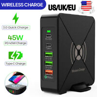 New PD 45W USB Type C 5 Port Wall Charger US EU Plug QC 3.0 Phone Laptop Adapter