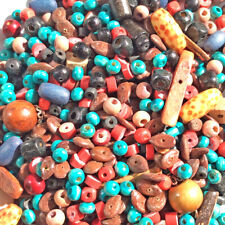 SALE Destash Red Black Turquoise Brown Wood Mixed Sizes & Shapes Free Shipping