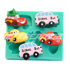 Cars police bus cake fondant icing soap chocolate ice resin silicone mould