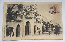 Carte Postale Ancienne INDOCHINE TONKIN VIETNAM NamDinh Rue du Marché Hanoi 1921