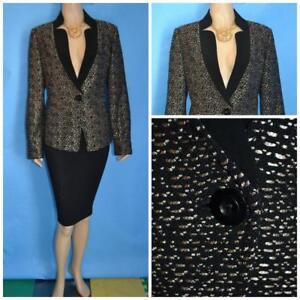 ST. JOHN Knits Black Jacket L 10 12 Blazer Button Metallic Shimmer