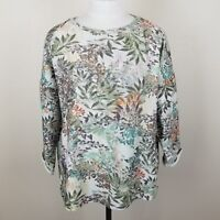 Dantelle Green Realistic Floral Sweater Top Cuff 3/4 Sleeve Cotton Womens Large