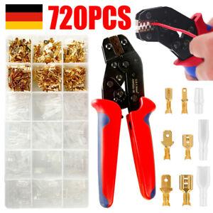 Flachsteckhülsen Set Krimpzange Kabelschuhzange Crimpzangen +720 Kabelstecker DE