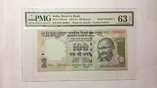 SERIAL 000001 India 100 Rupees 2015 PMG Choice Uncirculated 63 EPQ 00000001