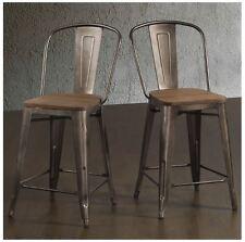 Bar Stool 24 Inch Rustic Industrial Wood Metal Back Kitchen Island Counter Set 2