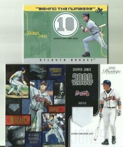3 Chipper Jones  1 Fleer and  1 Pinnacle 1  Playoff 105/325  2 Are Jersey Cards