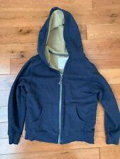 Hanna Andersson Blue Hoodie tan Sherpa/Fleece Lined Jacket Sz 130 Us 8