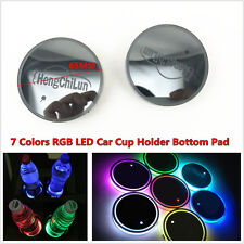 2x 65mm USB Charge Car Cup Holder Bottom Pad 7 Colors LED Light Switchable Cover