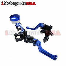 BLUE SHORTY BRAKE CLUTCH LEVERS W/ MASTER CYLINDER YAMAHA R1 R6 FZ1 FZ6 FZ8 FJR