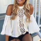 Femmes dentelle Haut au large de l'épaule manches longues T-shirt Blouse Top été