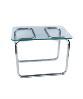 Vintage 60s Mid Century Modern MCM Glass Chrome Table Side Table Marcel Breuer
