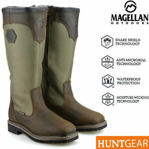 MENS LEATHER WATERPROOF WALKING OUTDOOR COUNTRY ZIP UP HUNTING BOOTS SHOES SIZE