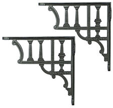 Pair Large Cast Iron Victorian Antique Railway Style Column Shelf Brackets 20cm