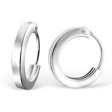 925 Sterling Silver Hoop Earrings 2 mm x 10 mm boxed hinged flat square