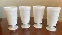 4 Vintage ANCHOR HOCKING White Milk Glass GRAPE DESIGN Footed/Stemmed Glasses