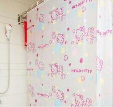Cute Hello Kitty Pink Waterproof Bubble Bathroom Shower Curtain 1.8M with Hooks