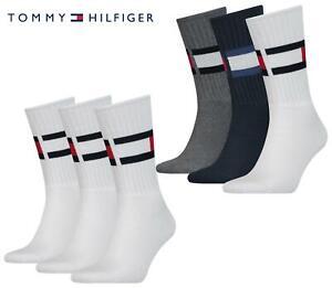 Tommy Hilfiger Crew Socks TH Cotton Blend Ribbed Flag Sports Sock 3 Pack