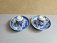 Chinese Blue White Porcelain Two Tea  Sets of Cups Saucers