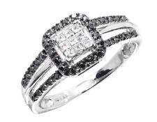 10k White Gold Ladies Black White Diamond Engagement Wedding Fashion Ring 0.33ct