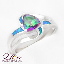 75% OFF 18K White Unique Blue AUSTRALIAN OPAL 925 Sterling Silver Ring Sz 7 8