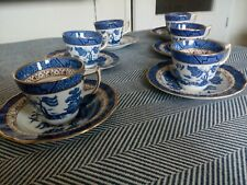 Booths Real Old Willow A8025 6 Gilded Coffee Cups & Saucers very good condition