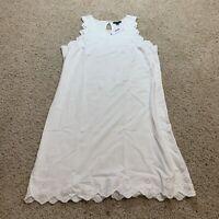 J Crew Womens Sleeveless Knit Dress White Eyelet Trim L7718 Stretch Size XS