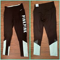 NWT Victoria's Secret Pink Ultimate Mesh Pocket Ankle Legging Black  Green Small