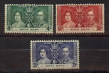 HONG KONG 1937 KGVI & Elizabeth Coronation (SC #151-153) 3V - Mint Hinged/Good