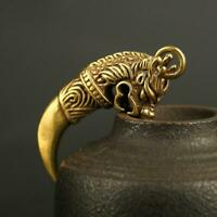 Chinese Antique Brass Wolf Tooth Pendant Small Statue Pocket Gift Ornament Hot