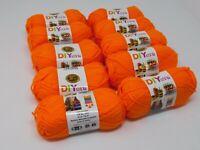 New LION brand Acrylic Orange Yarn #4 Medium Lot Of 10 Small Skeins 650 Yards