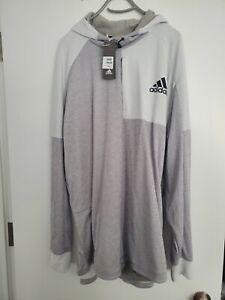 Adidas Hoodie Sweatshirt Mens DU2555 TI PO Pullover sz 3xlt Heather Gray NWT