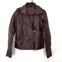BLANKNYC Easy Rider Faux Leather Moto Jacket Womens Size Medium Burgundy NWT