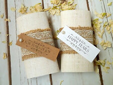 10 Packs of Hessian and Lace Personalised Wedding Tissues