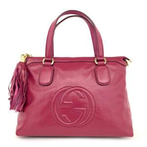 GUCCI Interlocking G Soho Fringe Pink Leather Tote Hand Bag /71330