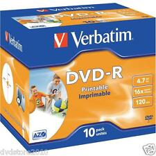 10 DVD -R Inkjet Printable ID Brand 4.7GB Pack 16x Branded Jewel Case 43521