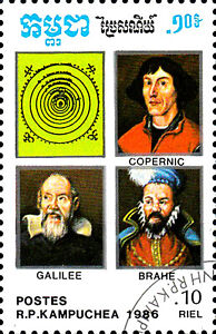 Kambodscha gestempelt Kopernikus Galileo Galilei Tycho Brahe Astronom Astronomie