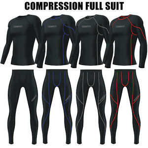 Mens Gym Compression Tights + Top Base Layer Gym Pant Summer Full Suit BLACK