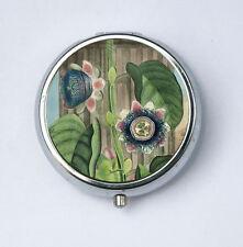 Quadrangular Passion Flower Pill Case pillbox holder botanical