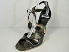 Gucci Black Snakeskin Ankle Strap Mink Pom Poms Tassels Sandals Heels 36/6 New