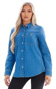 Ladies 100% Cotton Long Sleeve Button Through Denim Shirt