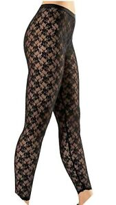 Womens Lace Leggings Ladies Side Panel Sexy Floral Lacey Through Legging