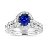 2.10 Ct Natural Diamond Blue Sapphire Ring Set Sterling Silver Size N M P O